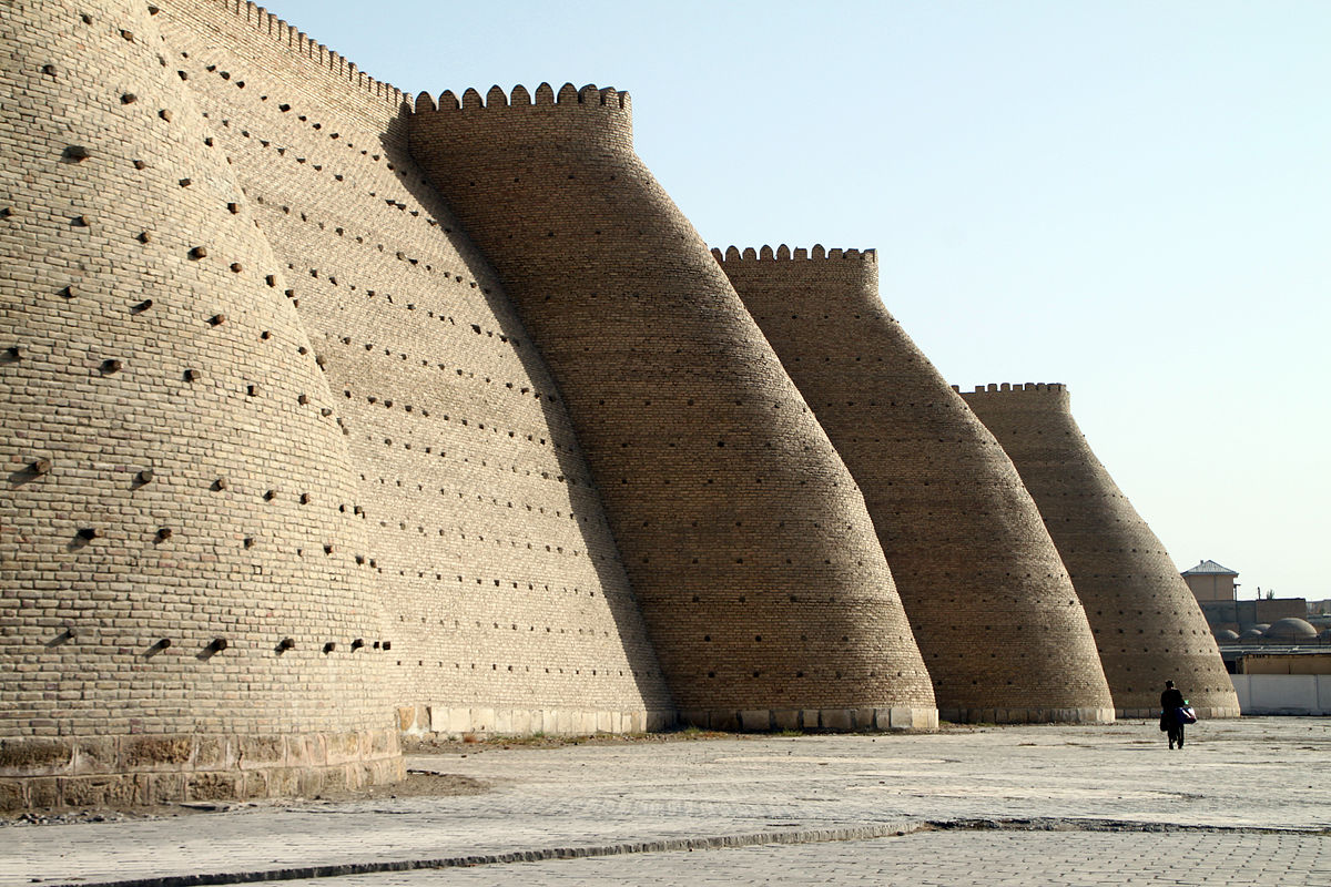 The Ark fortress in Bukhara, Uzbekistan, By Stomac [CC BY-SA 2.0 fr (https://creativecommons.org/licenses/by-sa/2.0/fr/deed.en)], from Wikimedia Commons